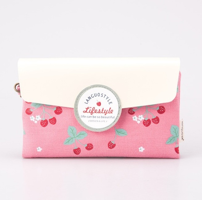 Маленькая косметичка-клатч «Cherries» - Pink